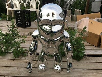 Kipling Three Foot 3 Ape Monkey Statue Chrome