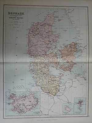 Map of Denmark. Iceland & the Faröe islands with Schleswig-Holstein and Lauenbur