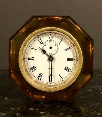 OLD ANTIQUE 1800's WELCH AMBER GLASS PORCELAIN DIAL SHELF MANTLE CLOCK RUNS