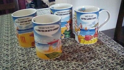 """Set Of Four Dunoon Humorous Mugs """"tongue In Cheek!"""" .4¼ Inches  (11Cm) Tall"""