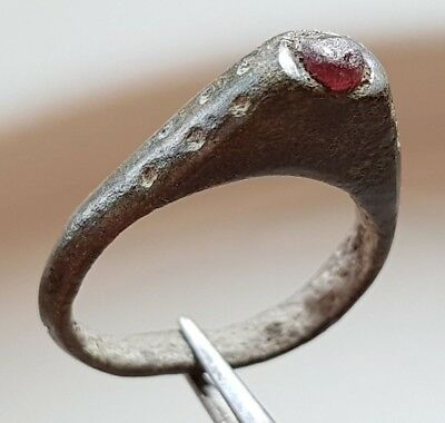 CELTIC Bronze Ring ** with small pink stone **  RARE !!
