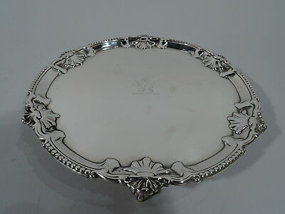 Georgian Salver - Antique Shell Tray - English Sterling Silver - Carter 1771