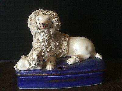 Vintage Staffordshire Poodles Dogs Figurine Pen/Quill Holder Inkwell