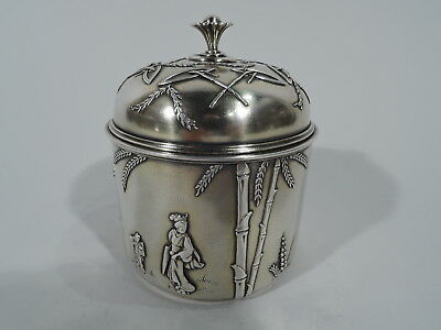 Tiffany Tea Caddy - 2685 - Early Antique Japonesque - American Sterling Silver
