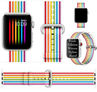 2018 Pride Edition Woven Nylon Band Rainbow Stripe For Apple Watch 42mm 44mm