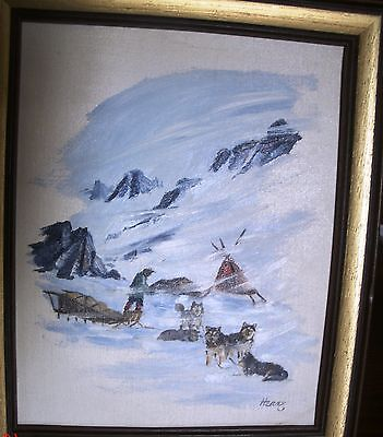 Ellen Henne (Goodale) Inuit dog sled team Oil Painting on canvas board