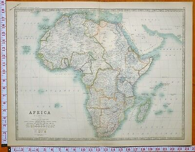 1902 Large Antique Map Africa Algeria Marocco Abyssinia Rhodesia Transvaal