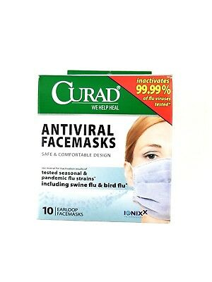 Curad Face Mask Antiviral Medical Pleated box of 10 CUR384S - 10 Pack Facemasks