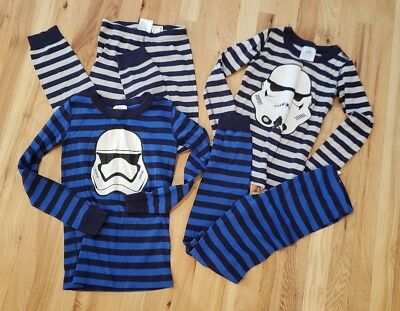 EUC Hanna andersson Star wars pajamas 130 140 Storm trooper Blue lot of 2 Pairs