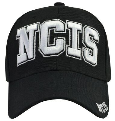 NCIS BLACK BASEBALL Hat White Embroidered Adjustable -  10.95  0cc9ae200bba