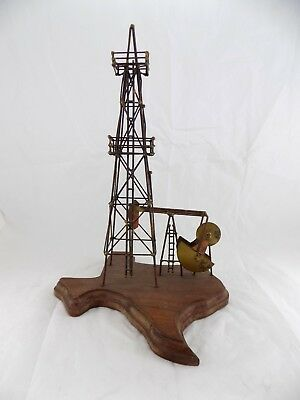 KEN TATYREK State of Texas Copper Oil Rig Derrick Drill Sculpture - American Art