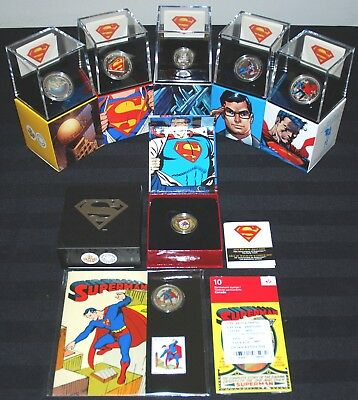 Canadian Mint 2013 All 7 Superman Silver Coins W/ 14K Gold Coin + Book + Stamps