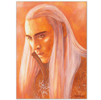 "ORIGINAL AQUARELL ""We're not going to.."" WATERCOLOR LEE PACE THRANDUIL HOBBIT A4"