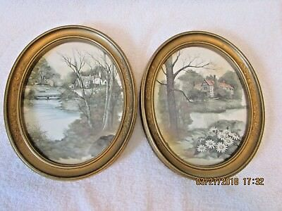 Set 2 HOMCO Oval Pictures Cottages Creek Lake Flowers Gold Frames Home Interior