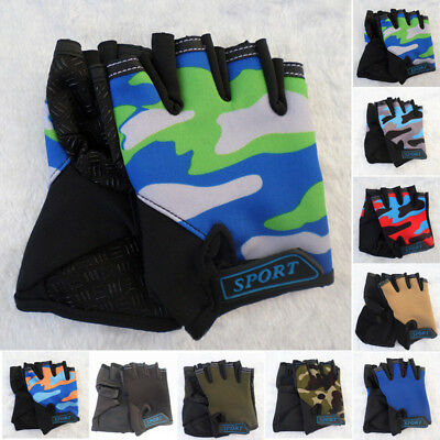 Kids Children Bike Bicycle Cycling Half Finger Fingerless Outdoor Sports Gloves