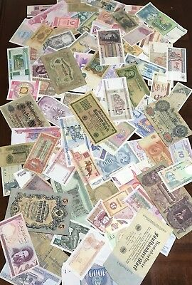 Lot Of 80+ ALL Different World Foreign Banknotes Currency Nice Mix Old & New .99