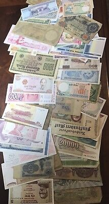 Lot Of 60+ ALL Different World Foreign Banknotes Currency Nice Mix Old & New .99