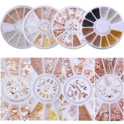 3D Rose Gold Rivet Nails Decorations Circle Round Square Beads  DIY Tips