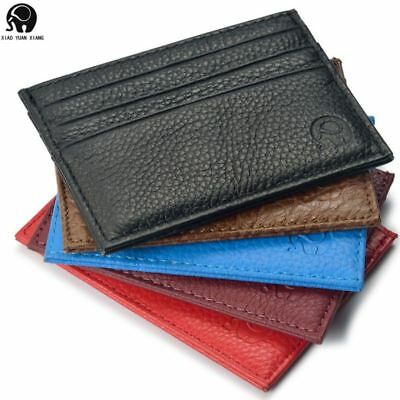 Men Cowhide Leather Wallet Credit Card ID Card Holder Purse Money Clip Black