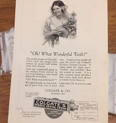 Early 1900's COLGATE RIBBON DENTAL CREAM AD BEAUTY DENTIST OFFICE ART WALL DECO