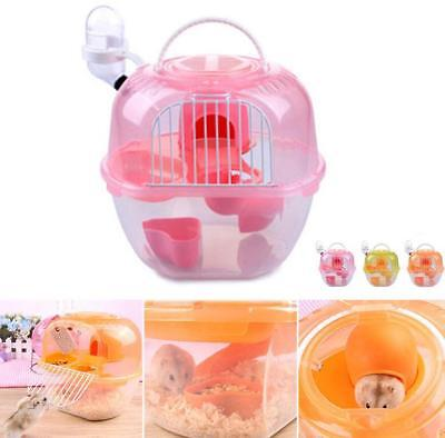 Water Storey Cage Small House Plastic With 2 Mouse Bottle Gerbil Hamster Floors