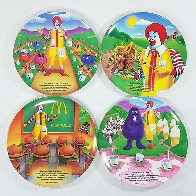 "Vintage Set Of 4 New Mcdonald's Collector Melamine Promo Plates  9.5"" 1989"