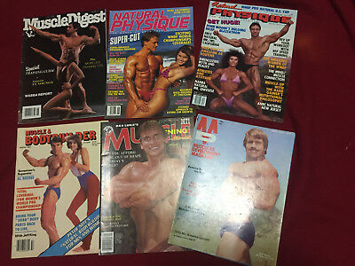 Bodybuilding Mixed Magazine Lot of 6 70s, 80s RARE Free Shipping!!