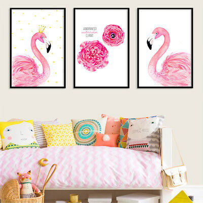 Flowers Crown Flamingo Canvas Prints Unframed Wall Art Home Room Decor Painting