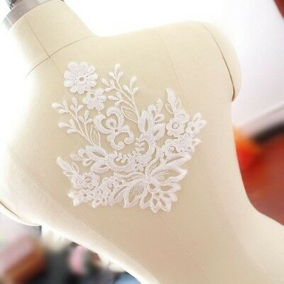 1pc Lace Floral Wedding Motif Embroidered Applique Bridal Dress Patch Trimming