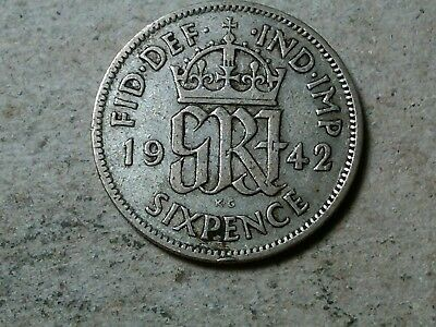 Great Britain 6 pence sixpence 1942 George VI Wedding coin gift silver WWII