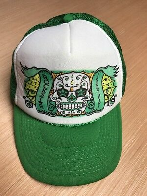 228aee09d34 ... australia rockstar energy drink trucker hat cap green white sugar skull  day of dead h20 7fe68