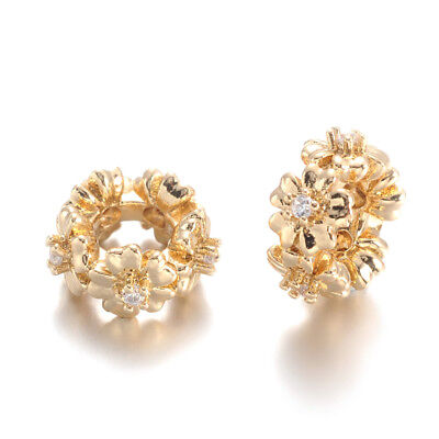 20pcs Brass Cubic Zirconia European Beads Flower Large Hole Charms Gold 11.5x6mm