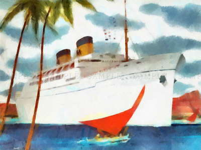 116879 MATSONIA CRUISE SHIP PACIFIC LINER WATERCOLOUR Decor WALL PRINT POSTER AU