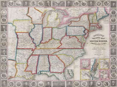116941 GEOGRAPHY MAP ILLUSTRATED ANTIQUE PHELPS LARGE Decor WALL PRINT POSTER AU