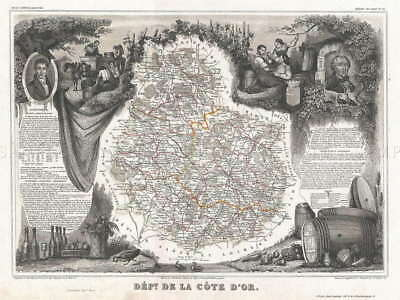 117115 GEOGRAPHY MAP ILLUSTRATED ANTIQUE COTE Decor WALL PRINT POSTER AU