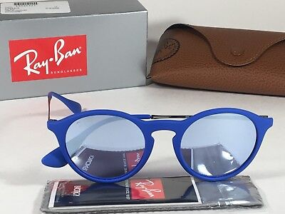 62690d39ff New Authentic Ray-Ban Round Phantos Sunglasses Matte Blue Gray Flash Lens  RB4243
