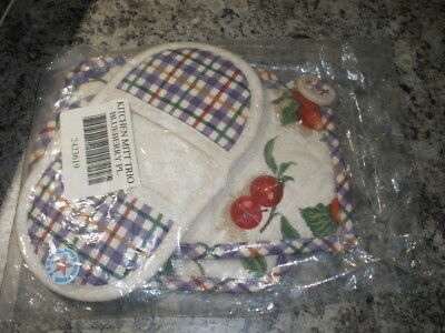 Longaberger Kitchen Oven Mitt Pot Holder Trio Set Usa 2423619