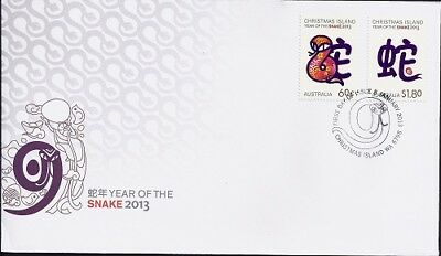 2013 Christmas Island - Year of the Snake First Day Cover FDI