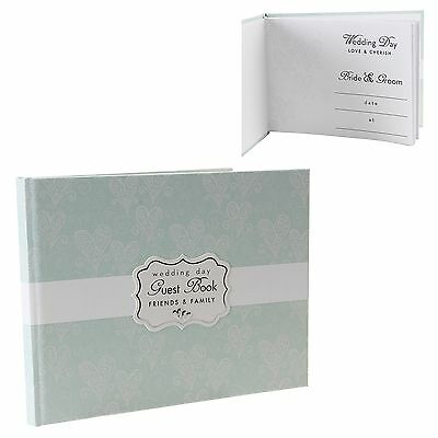 Wedding Guest Book Love And Cherish Pretty Pastel Green With Heart Design