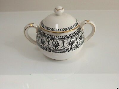 Crown Staffordshire BLACK VICTORIA SUGAR BOWL WITH LID - Great gift