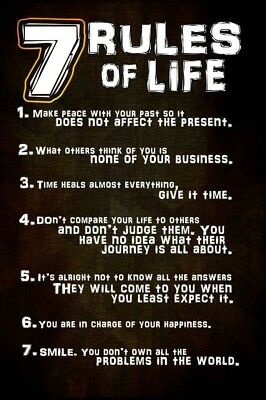 """7 Rules of Life Silk Cloth Poster 20x13"""" 36x24"""" Decor 323"""