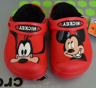 44c21b644 Kids Winter Creative Mickey Mouse   Goofy Lined Clogs-croc Warm Cotton  Sandals