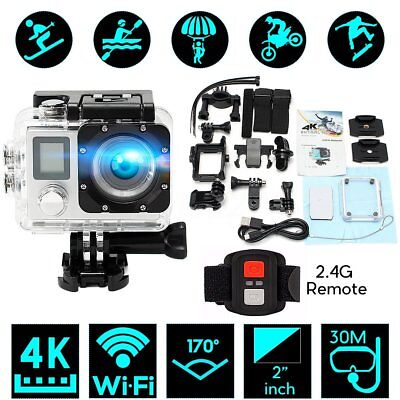 2.0 inch LCD Dual Screen 4K HD WiFi Sports DV Action Camera W/ Remote Control TO