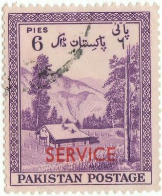 Pakistan 1957-59 S.G.O53 6 pies reddish violet with Red Sevice overprint.