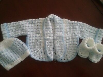 Hand Crochet Baby 3 Piece Set..beautiful Cuddly Cardi,bootees,hat