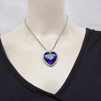 Graceful Blue Crystal Pendant Necklace Titanic Heart Of The Ocean Necklace US