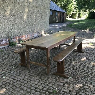 Antique French oak table and pair of benches 2.5m long