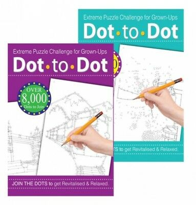 Dot To Dot Extreme Puzzle Drawing Book Challenge for Grown-Ups Adults X 2 Books