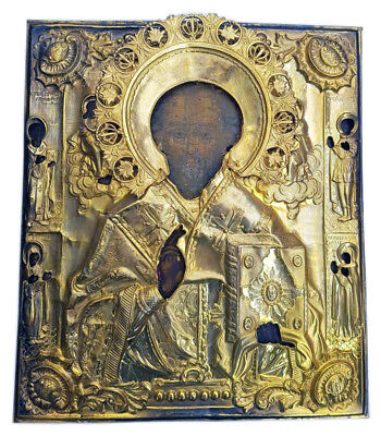 Antique 19th C Russian Wooden Icon (Large 33 cm) of St. Nicholas in Brass Riza