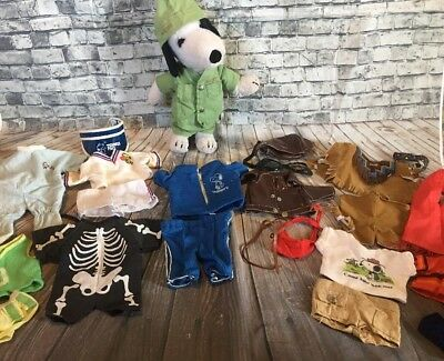 "11"" Vintage Snoopy Plush Doll Clothes 10 Outfits Case Toy Lot Beagle Scout Hike"